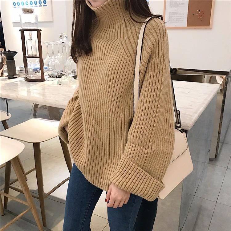 厚め ハイネックセーター ニットトップス ゆったり 韓国ファッション レディース-1