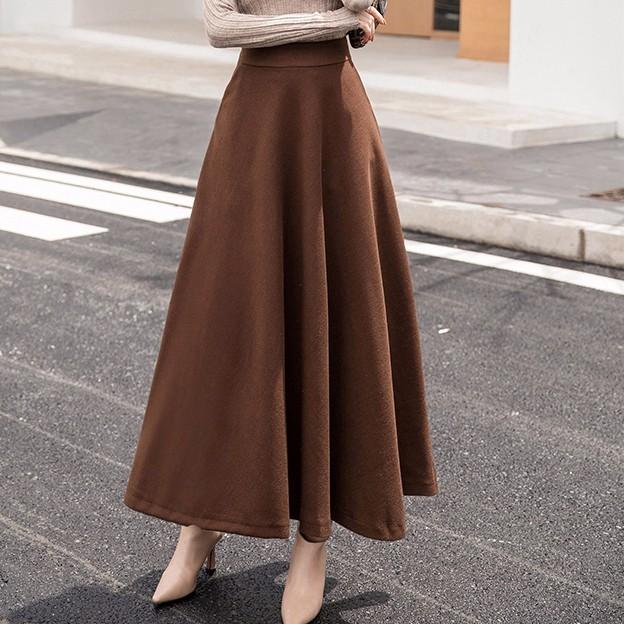 無地ロングスカート 秋冬物 レディースファッション Aラインスカート