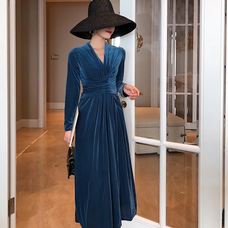 Vネックロングワンピース ベロア ドレス-1