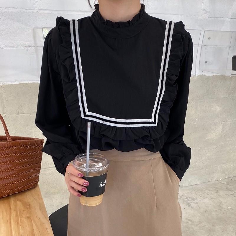 春新作 レディースファッション 韓国ファッション ブラウス ライン入り