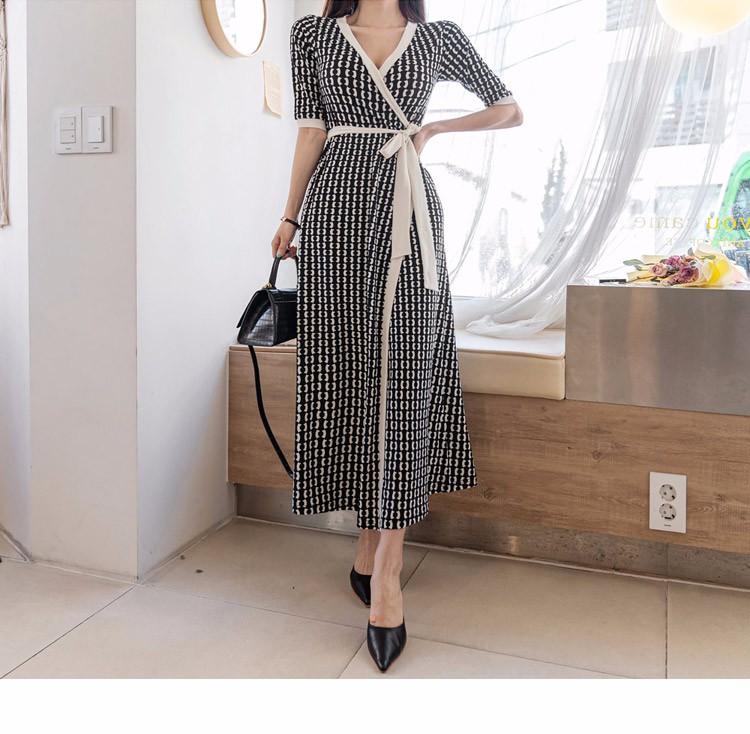 Vネック マキシワンピース ロングワンピース 韓国ファッション