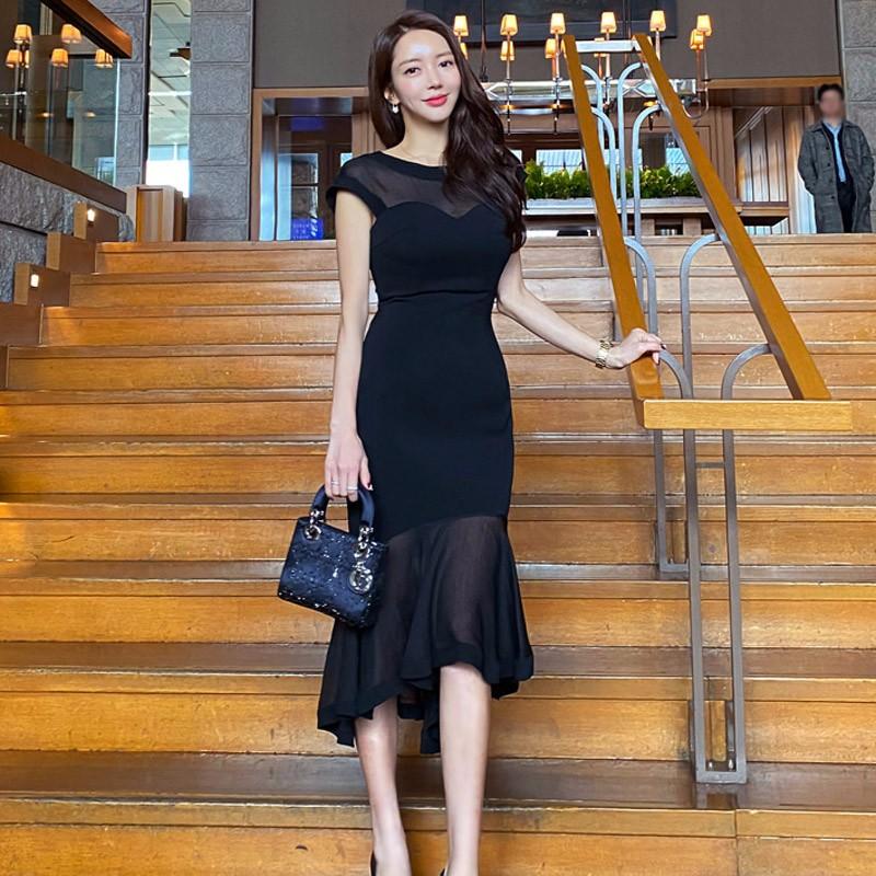韓国ファッション ドレス レース切り替え  ロングワンピース