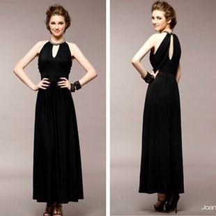 Vネック パーティードレス ドレス シンプル無地 マキシ丈ワンピース タイトドレス フリーサイズ 3色