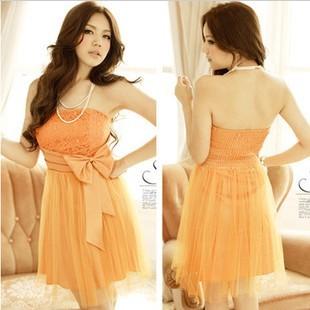 フリーサイズ ブラック オレンジ リボン ノースリーブ ドレス