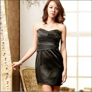 フリーサイズ ブラック ホワイト ショート丈 ノースリーブ ドレス