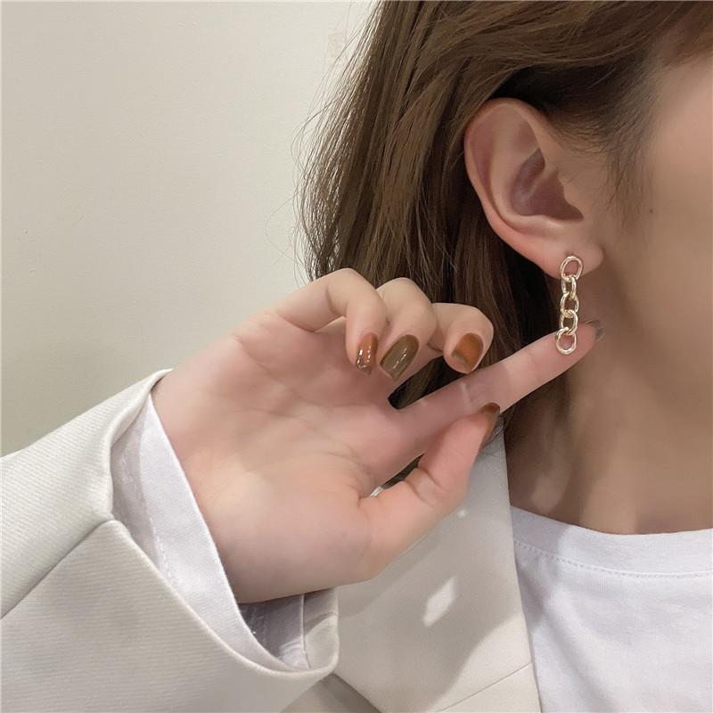 链条环扣耳钉
