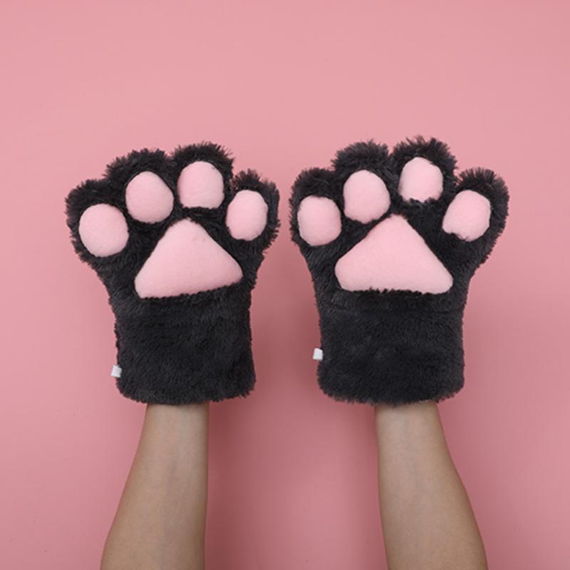 猫の爪の手袋-ダークグレー