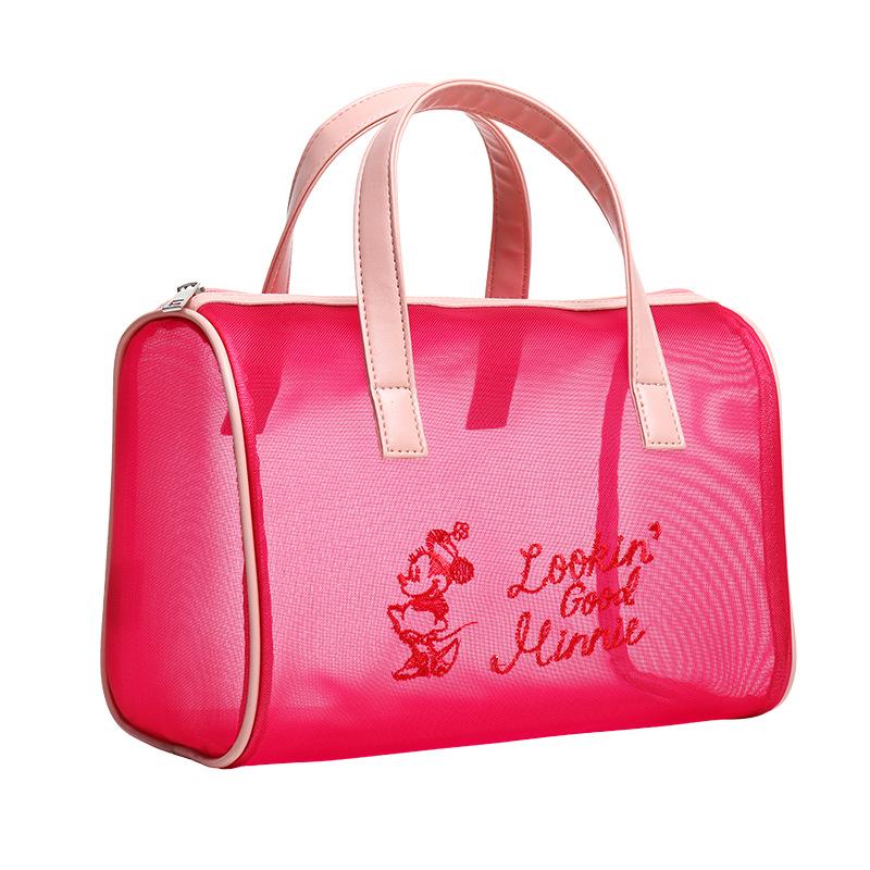 バラ色のメッシュ収納バッグ