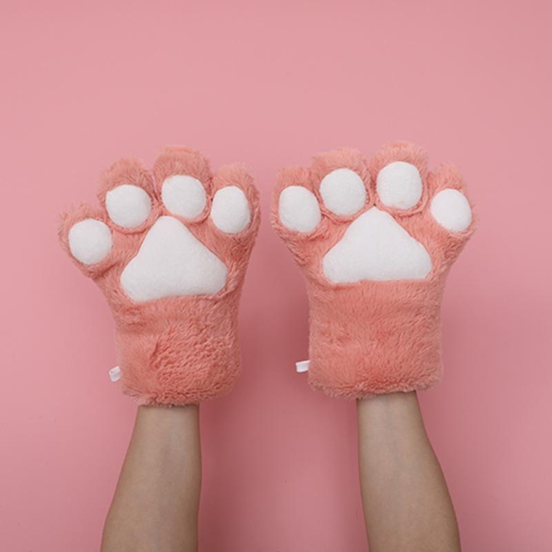 猫の爪の手袋-深いピンク色